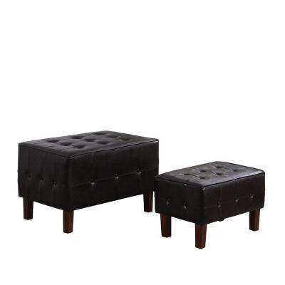 Brown Leatherette Allover Tufted Piping Trim Stackable Seating Bench