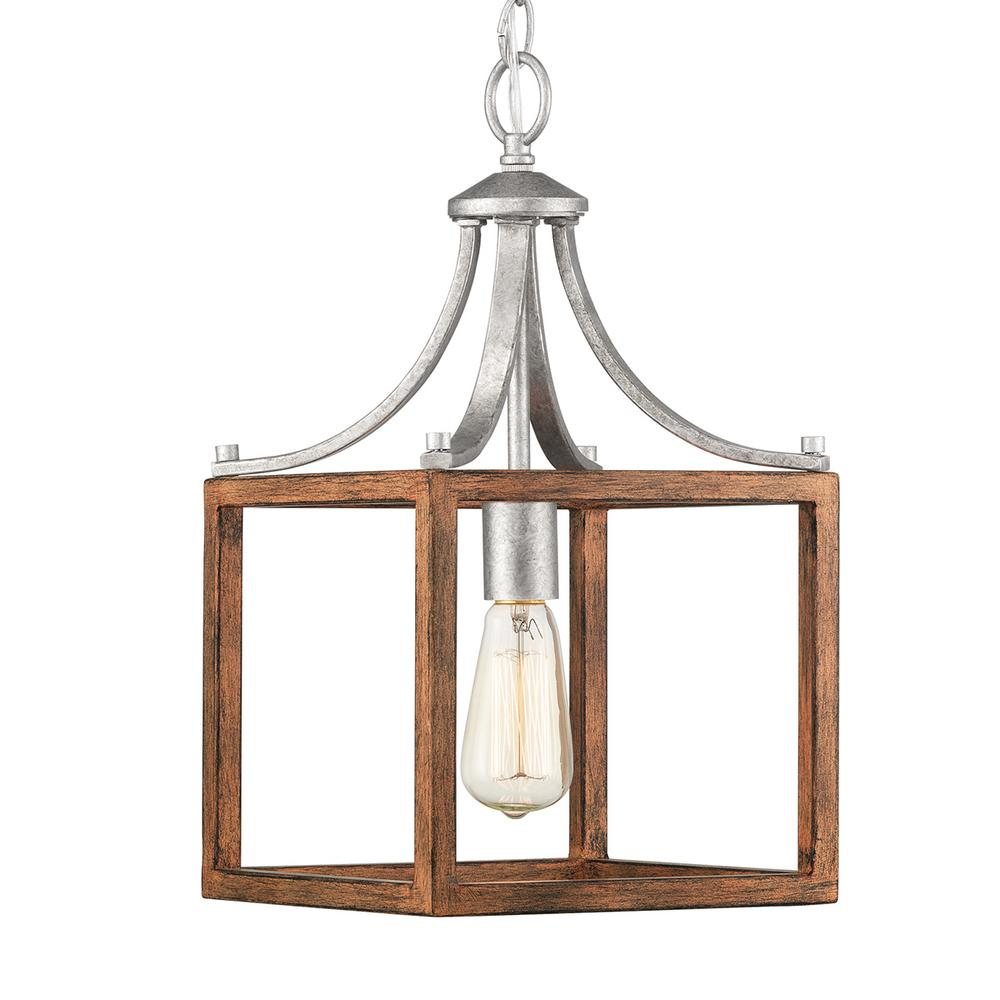 Home Decorators Collection Boswell Quarter Collection 1-Light Galvanized Mini-Pendant with Painted Chestnut Wood Accents