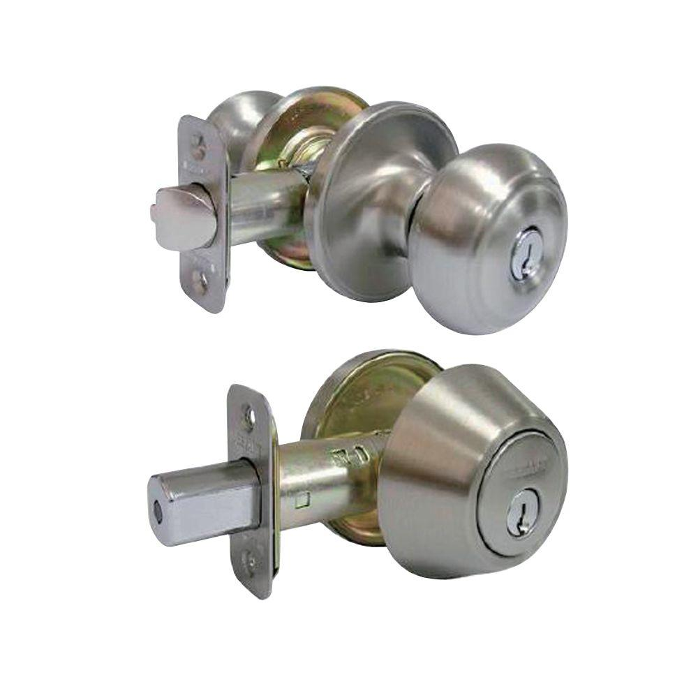 Nice Defiant Hartford Satin Nickel Entry Knob And Single Cylinder Deadbolt Combo  Pack