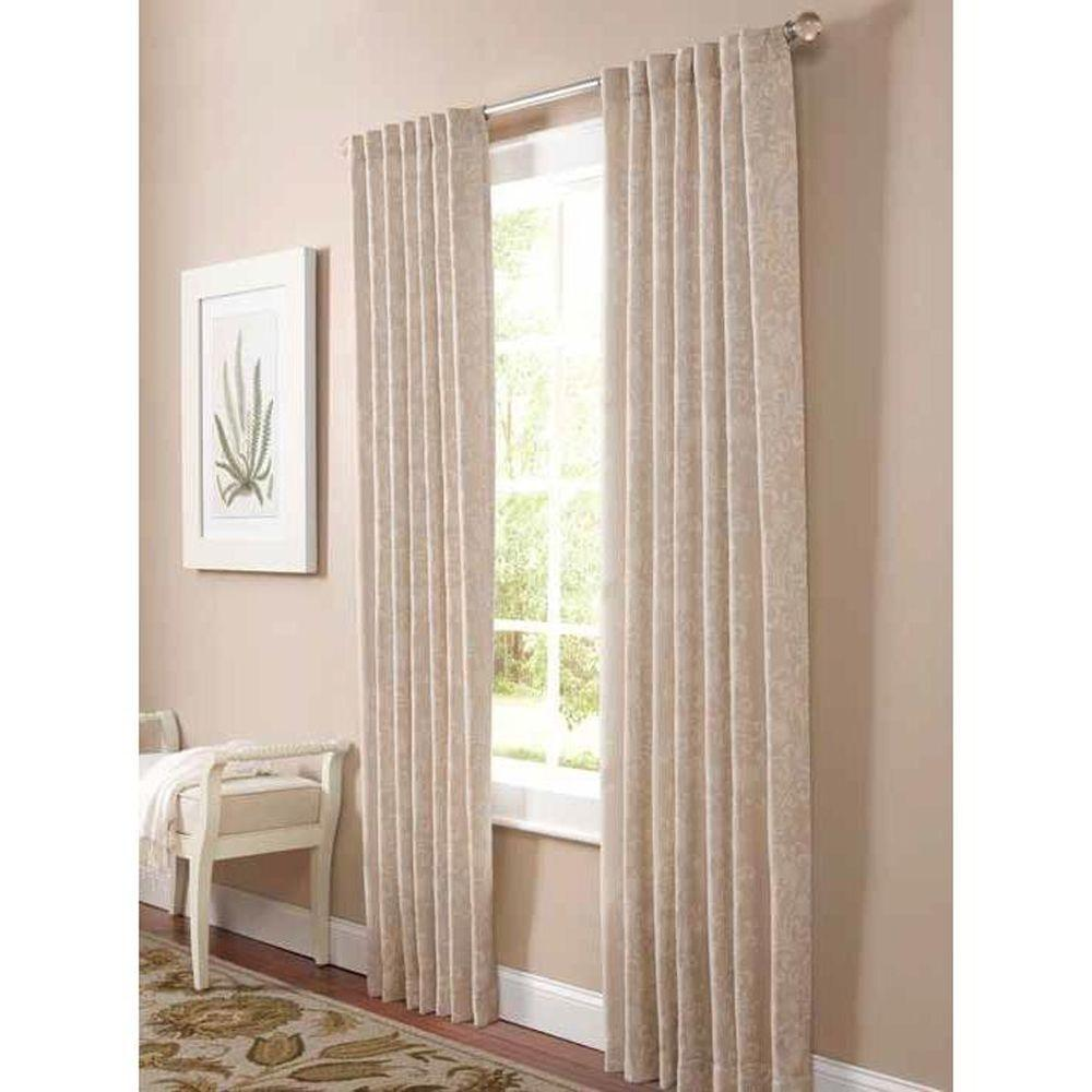 Semi Opaque Natural Twine Floral Scroll Back Tab Curtain