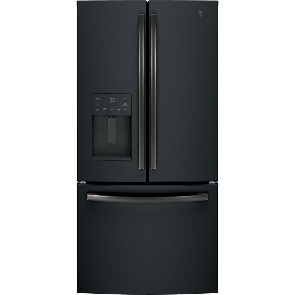 GE 17.5 cu. ft. Counter-Depth French-Door Refrigerator in Black Slate, ENERGY STAR Fingerprint Resistant