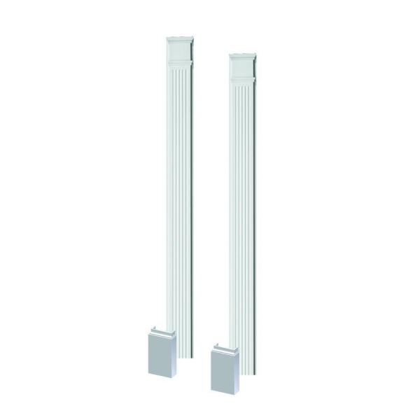 2-1/2 in. x 8 in. x 90 in. Polyurethane Fluted Pilasters with Adjustable Plinth Block - Pair