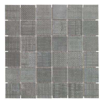 Lungo Dark 11.81 in. x 11.81 in. 10mm Matte porcelain Floor and Wall Mosaic Tile (0.97 sq. ft. per Sheet)