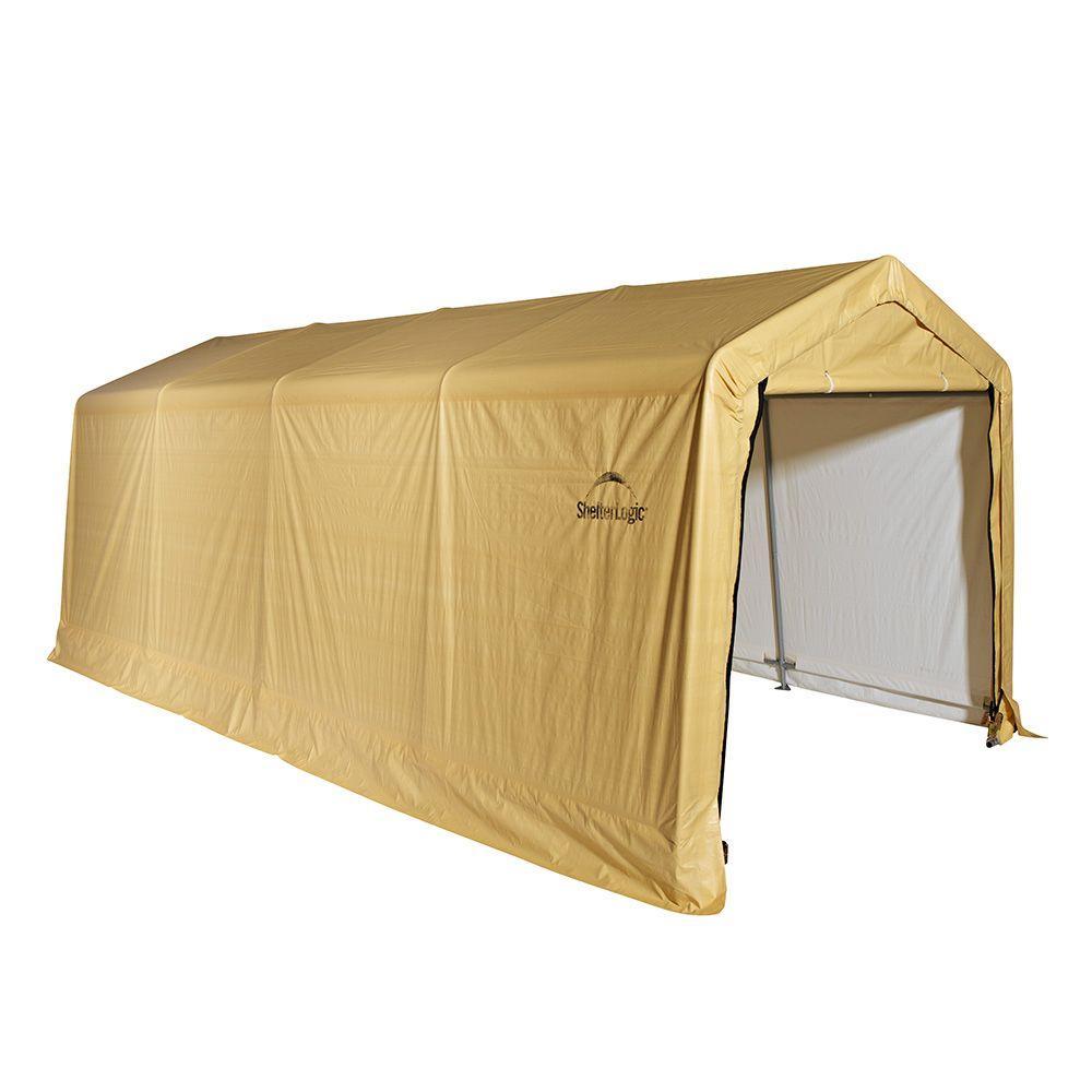 ShelterLogic 10 ft. x 20 ft. x 8 ft. Sandstone Steel/Polyethylene Peak Style Auto Shelter without Floor