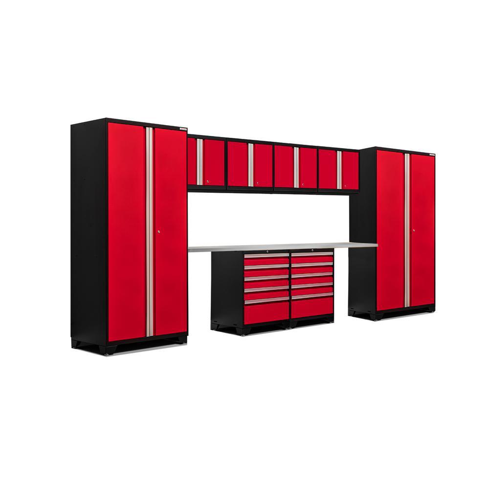 Pro 3.0 83.25 in. H x 184 in. W x 24 in. D 18-Gauge Welded Steel Stainless Steel Worktop Cabinet Set in Red (10-Piece)