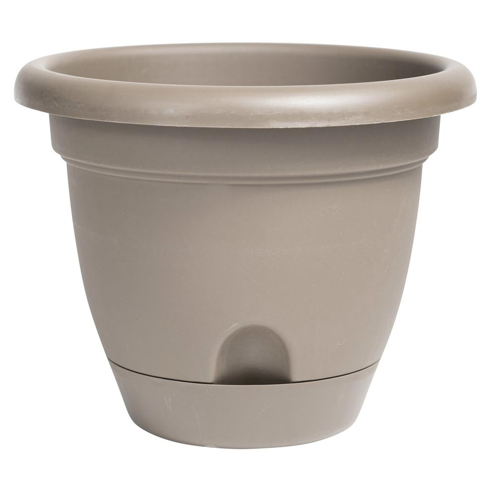 Bloem Lucca 12 in. x 10.75 in. Pebble Stone Plastic Self Watering Planter with Saucer