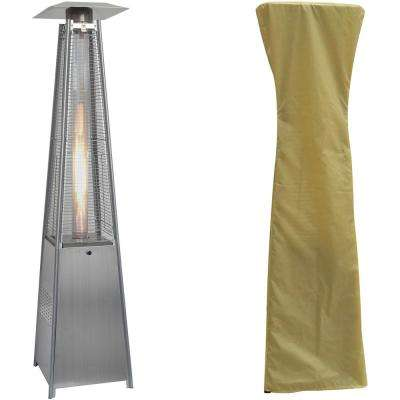 7 ft. 42,000 BTU Stainless Steel Pyramid Propane Patio Heater with Weather-Protective Cover