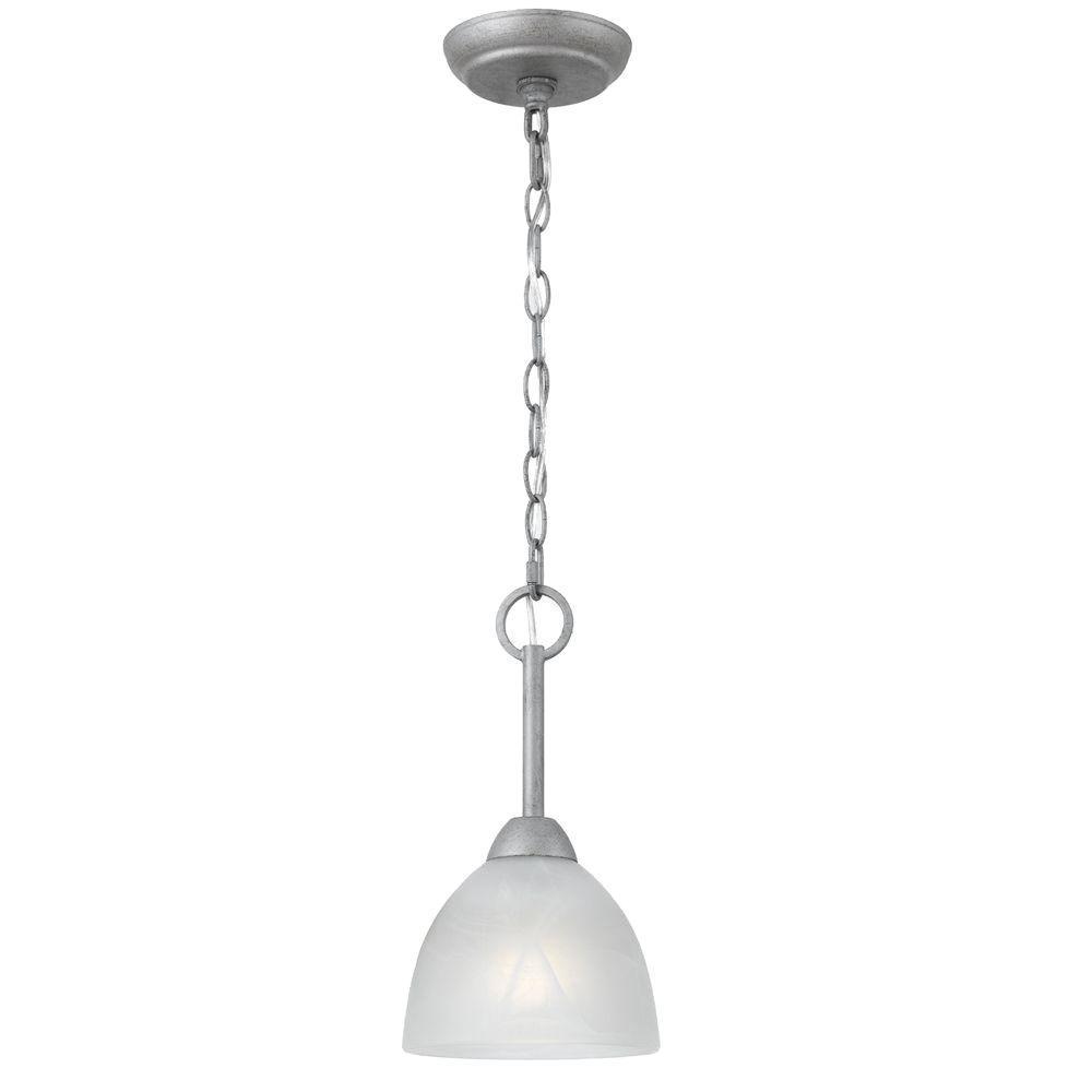 Illumine 1-Light Old Silver Mini Pendant with White Alabaster swirl Glass-DISCONTINUED