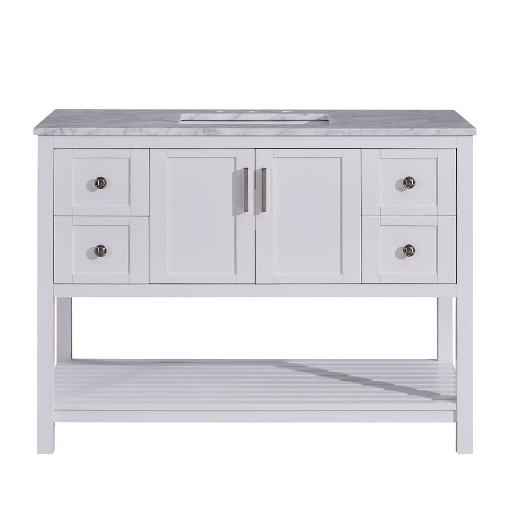 Silkroad Exclusive 48 in. W x 22 in. D Bath Vanity in White with Marble Vanity Top in Carrara White with White Basin