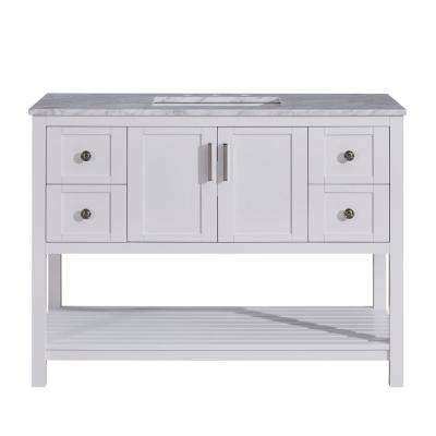 48 in. W x 22 in. D Bath Vanity in White with Marble Vanity Top in Carrara White with White Basin