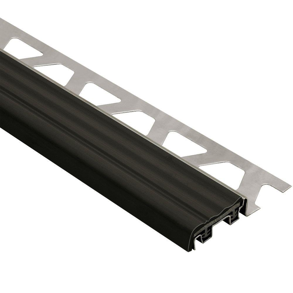 Schluter Trep-SE Stainless Steel with Black Insert 5/16 in. x 4 ft. 11 in. Metal Stair Nose Tile Edging Trim