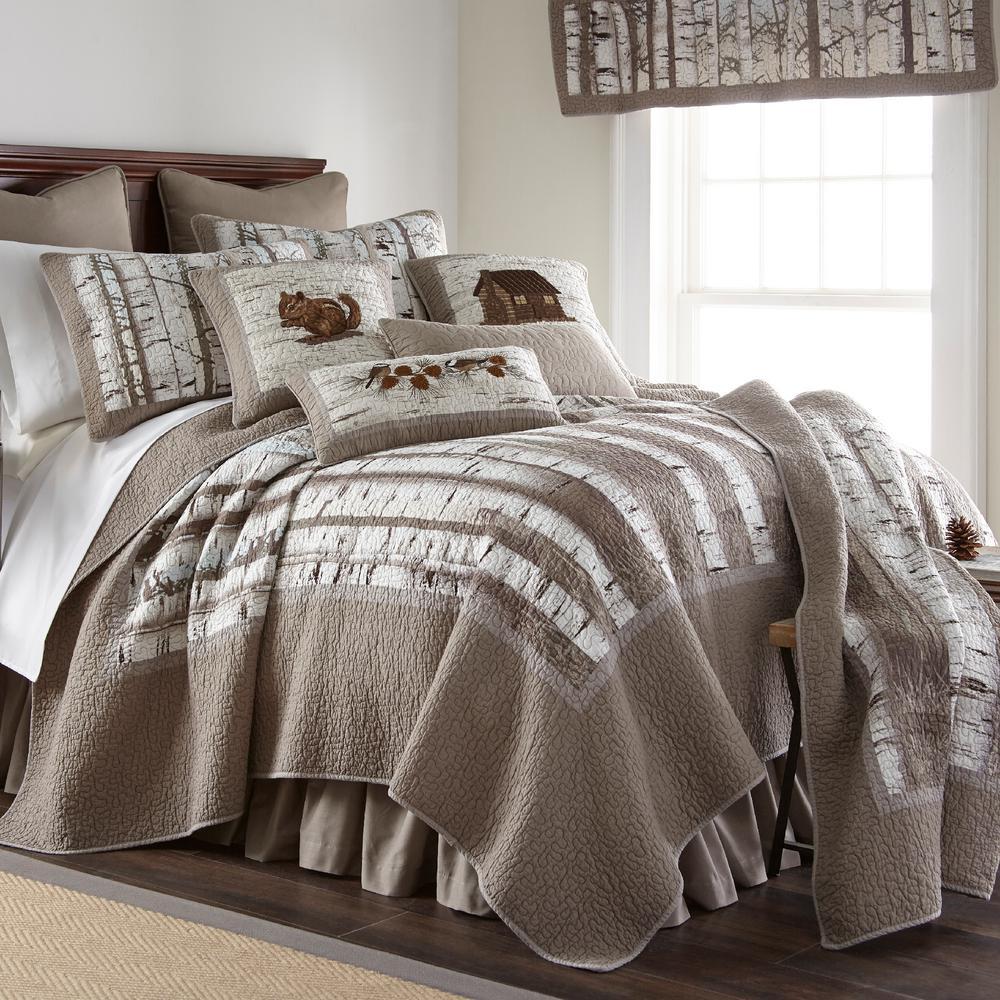 Birch Forest 3-Piece Taupe, Grey, White Queen Cotton Quilt Set