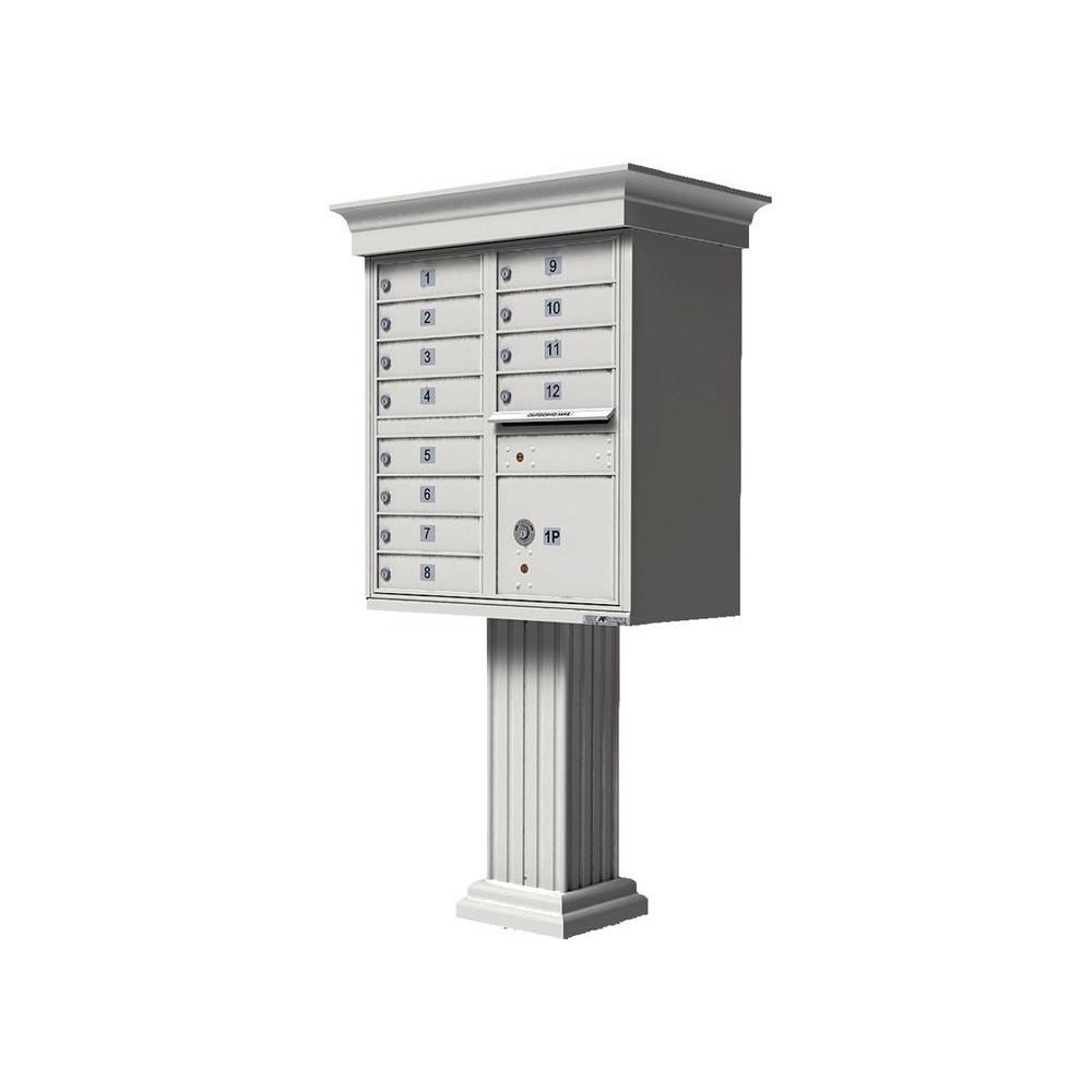 Florence Vital 1570 12 Mailboxes 1 Parcel Locker 1 Outgoing Pedestal Mount Cluster Box Unit