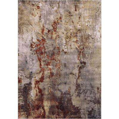 Olympus Abstract Red Rectangle Indoor 9 ft. x 12 ft. Area Rug