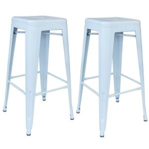 Loft Series 30 in. Indoor/Outdoor Stackable Anti-Rust Coated Metal Bar Stool in White (Set of 2)