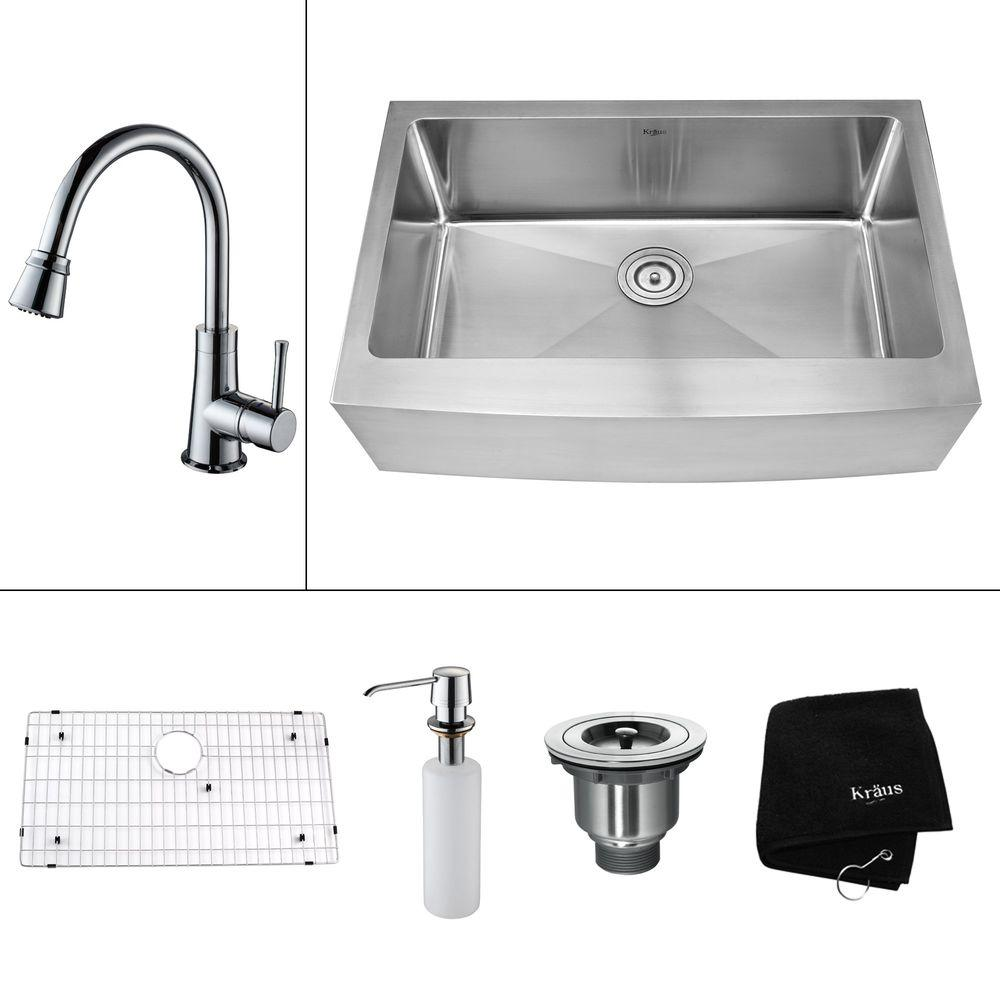 KRAUS All-in-One Farmhouse 35.9x20.75x14.9 0-Hole Single Bowl Kitchen Sink with Chrome Accessories