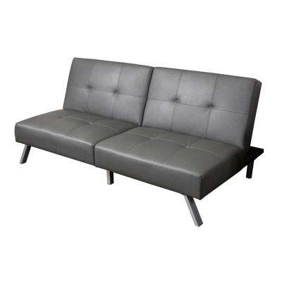 2-Seat Gray Bonded Leather Sofa Bed