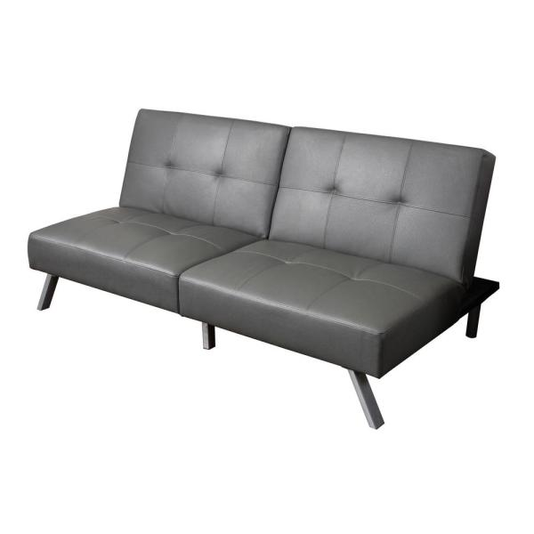 Noble House 2-Seat Gray Bonded Leather Sofa Bed 295603 - The Home Depot