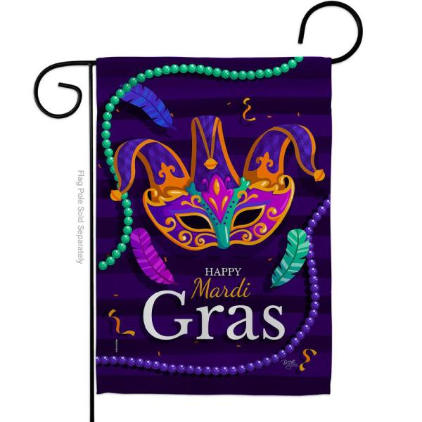 Breeze Decor 13 In X 18 5 In Carnival Mardi Gras Beads Feather Mask Brazil Masquerade Spring Vertical Double Sided Garden Flag Hdg168013 Bo The Home Depot