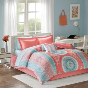 Eleni 9-Piece Coral Full Medallion Comforter Set