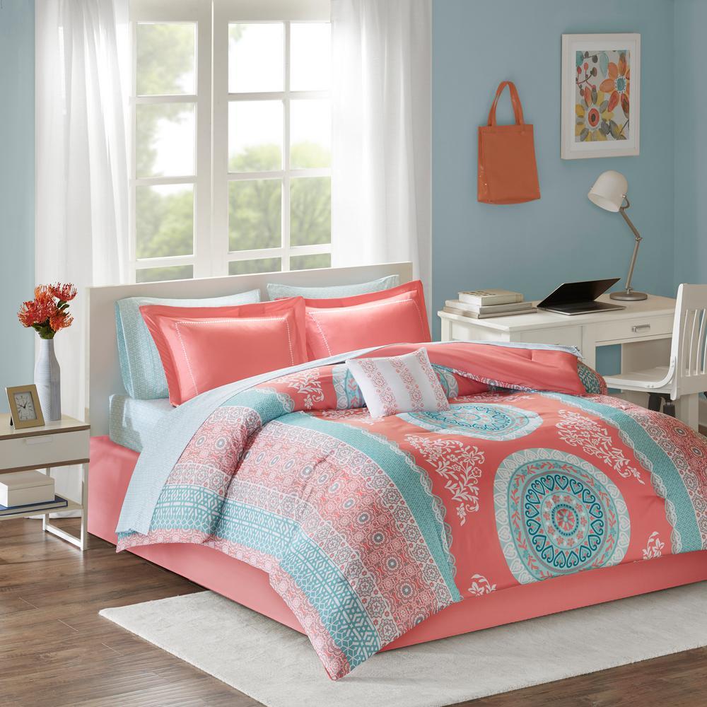 Eleni 9-Piece Coral Queen Medallion Comforter Set