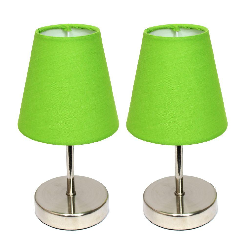 10 in. Sand Nickel Mini Basic Table Lamp with Green Shade