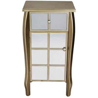 Shelly Assembled 17.3 in. x 17.3 in. x 13 in. Champagne Wood Accent Storage Cabinet with Drawer and Door