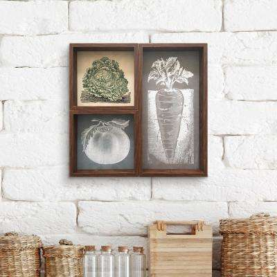 """Vegetable Woodblocks Reverse Box Set of 3"" by Wynwood Studio Printed Wood Wall Art"