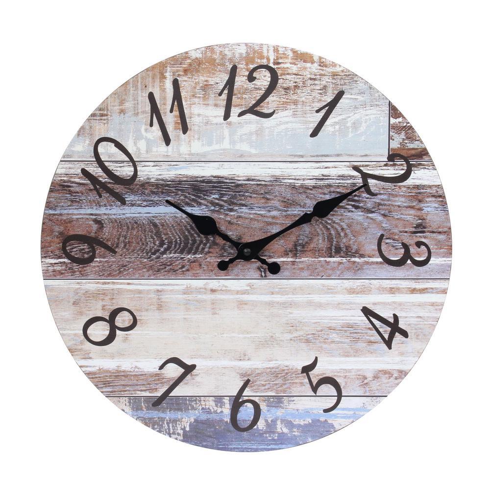 Stratton Home Decor Stratton Home Decor Derrick Two Tone Wood Table Clock S23783 The Home Depot