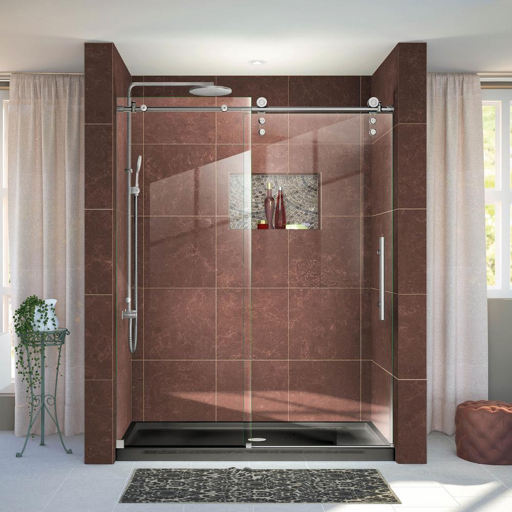 Dreamline enigma z 56 in to 60 in x 76 in frameless sliding dreamline enigma z 56 in to 60 in x 76 in frameless sliding shower door in brushed stainless steel shdr 6260760 07 the home depot eventshaper