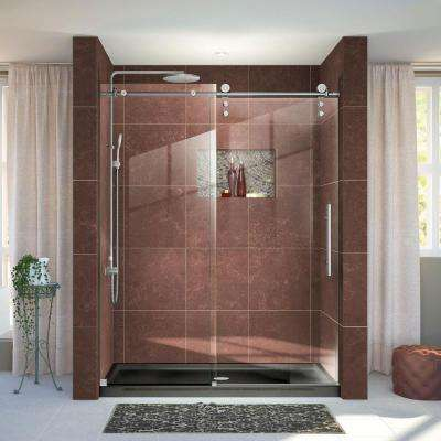 Enigma-Z 56 in. to 60 in. x 76 in. Frameless Sliding Shower Door in Brushed Stainless Steel