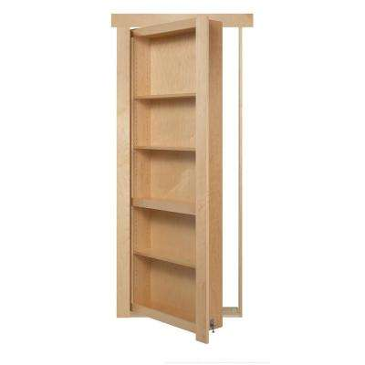 32 in. x 80 in. Flush Mount Assembled Maple Natural Stained Left Hand In-Swing Solid Core Interior Bookcase Door