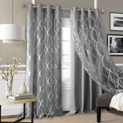 Elrene Bethany Blackout with Sheer Overlay Single Window Panel in Gray - 52 in. W x 95 in. L
