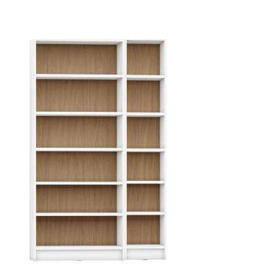 Greenwich 2-Piece White Matte and Maple Cream Bookcase 12-Wide and Narrow Shelves