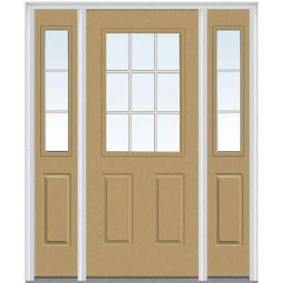 60 in. x 80 in. Internal Grilles Left-Hand Inswing 1/2-Lite Clear Painted Steel Prehung Front Door with Sidelites