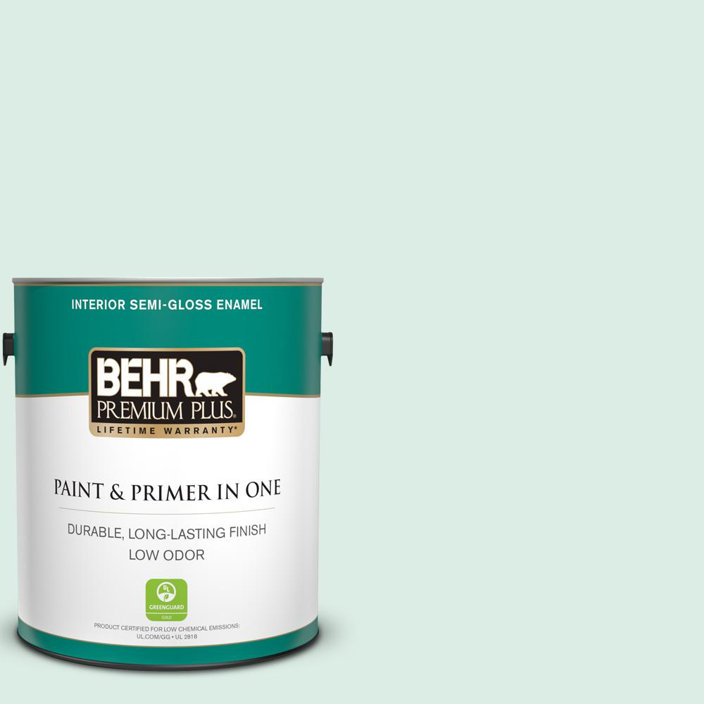 Behr Premium Plus 1 Gal M420 1 Sparkling Brook Semi Gloss Enamel Low Odor Interior Paint And Primer In One 305001 The Home Depot