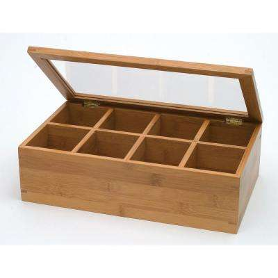 Bamboo 8 Compartment Tea Box with Acrylic Lid
