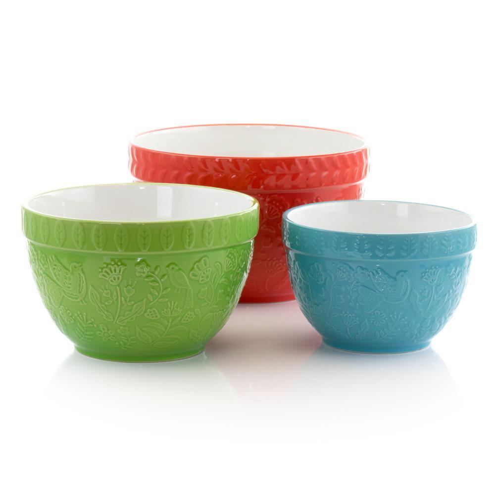 Abbey 9 in. 144 fl. oz. 3-Piece Stoneware Assorted Nesting Bowls