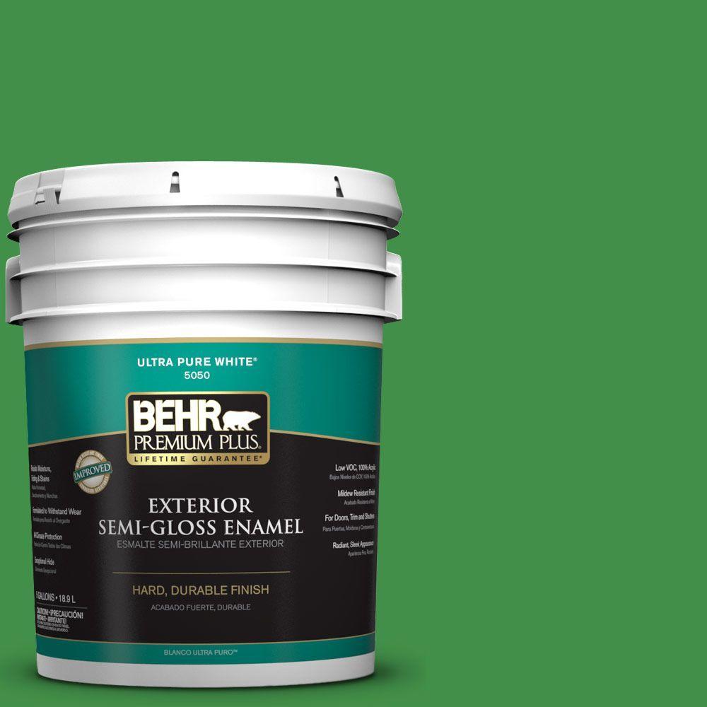 BEHR Premium Plus 5-gal. #P390-7 Park Picnic Semi-Gloss Enamel Exterior Paint