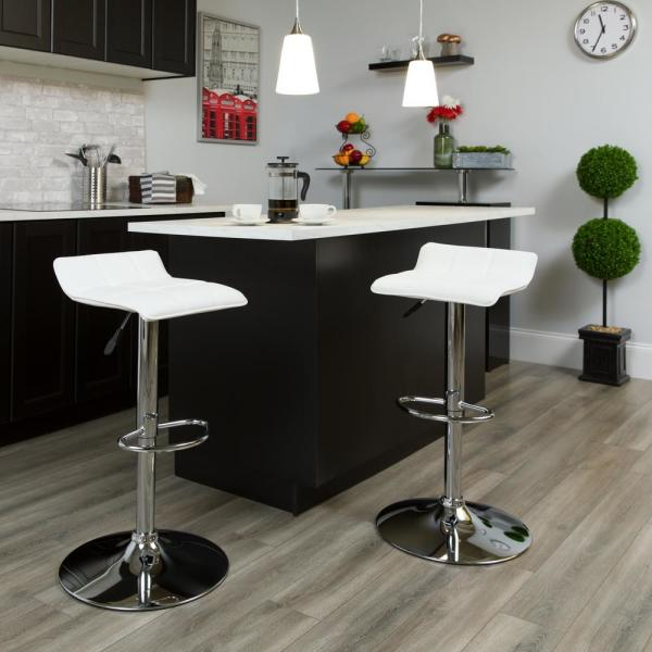 Flash Furniture 32 in. Adjustable Height White Cushioned Bar Stool DS801BWH