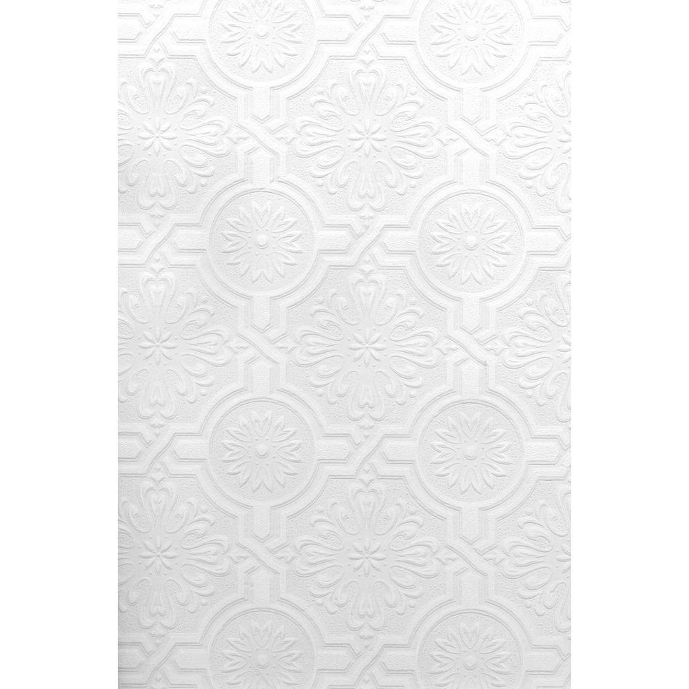 Paintable Nazareth Ornate Tiles White & Off-White Wallpaper Sample