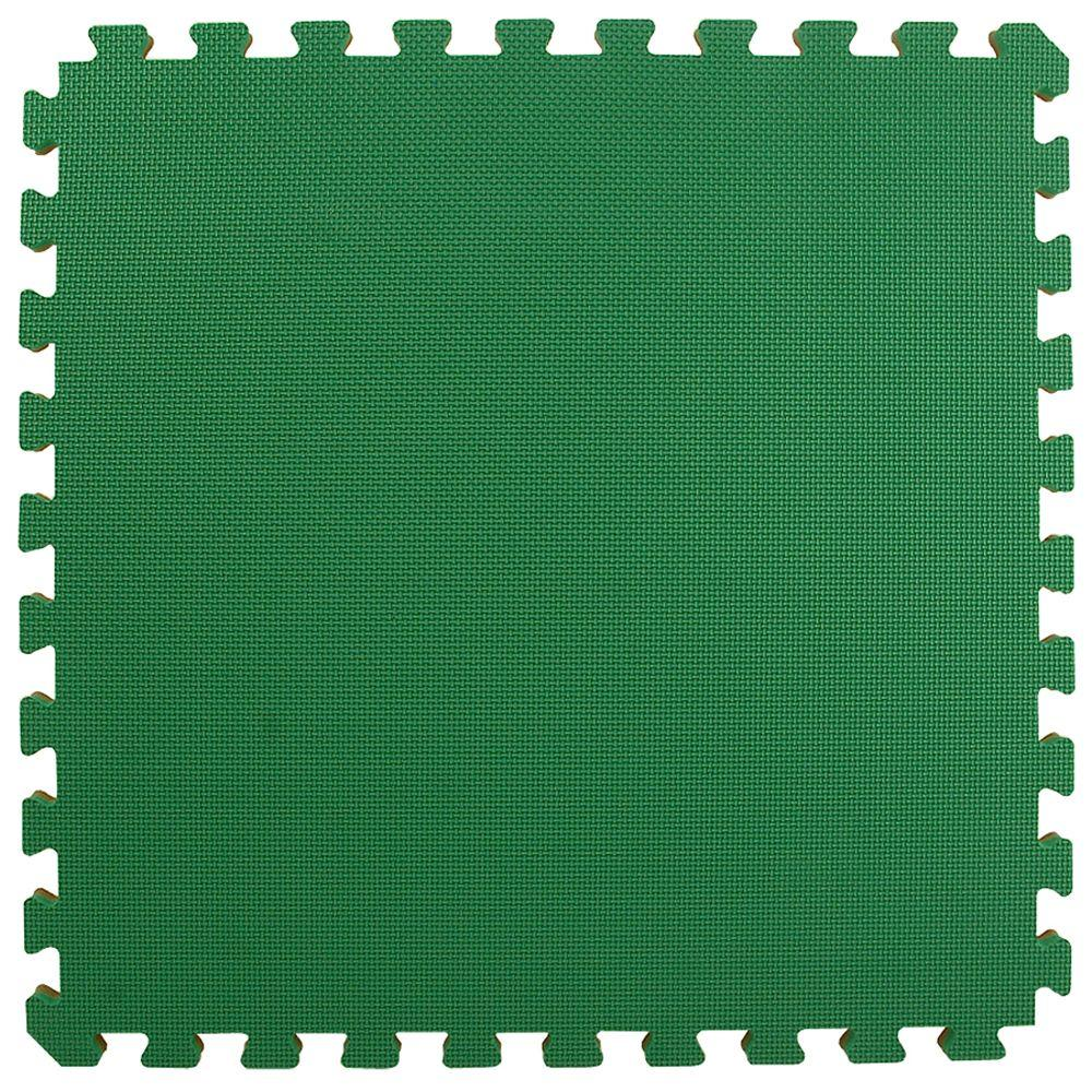 Greatmats Home Sport and Play Green/Brown 24 in. x 24 in. x 0.875 in. Interlocking Foam Tile