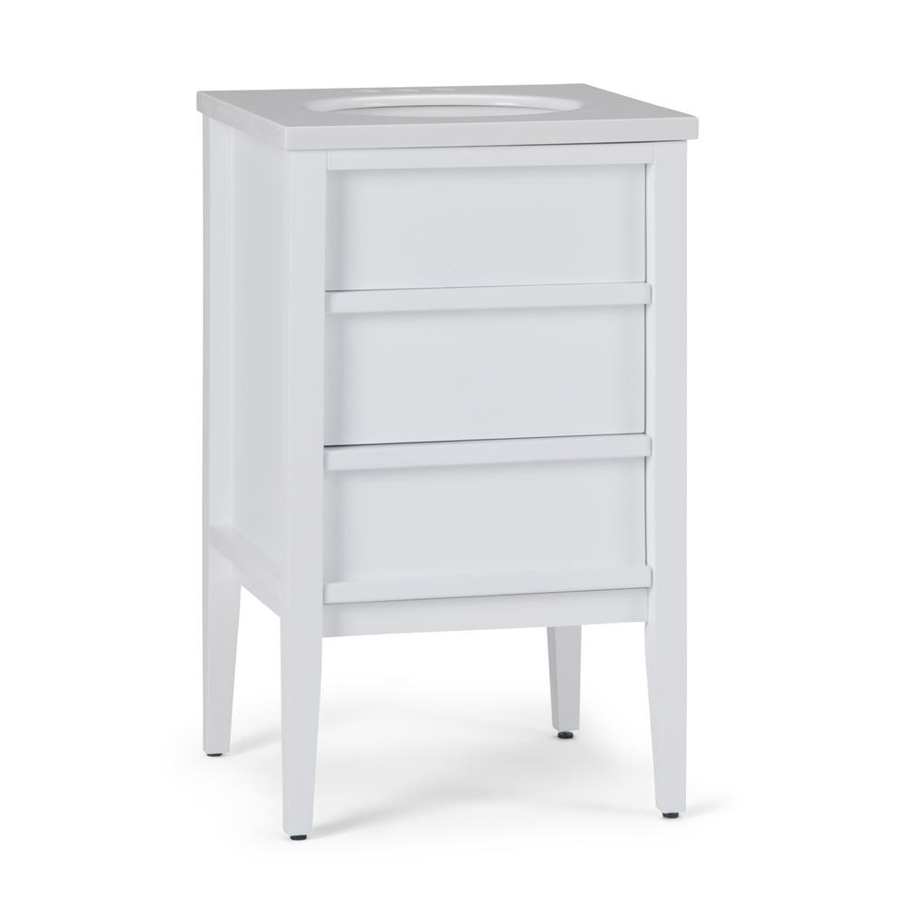 Simpli Home Russo 20 in. W x 19 in. D Bath Vanity in White with Marble Extra Thick Vanity Top in White Veined with White Basin