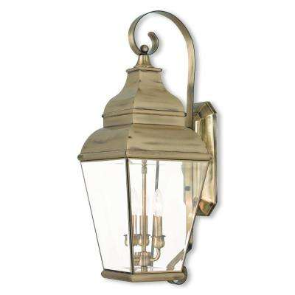 Exeter 3-Light Antique Brass Outdoor Wall Mount Lantern