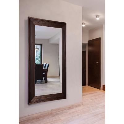 Oversized Rectangle Medium-Brown Wood Classic Mirror (78.25 in. H x 39.25 in. W)