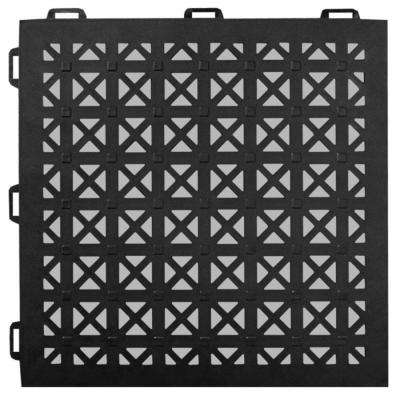 StayLock Perforated Black 12 in. x 12 in. x 0.56 in. PVC Plastic Interlocking Outdoor Floor Tile (Case of 26)