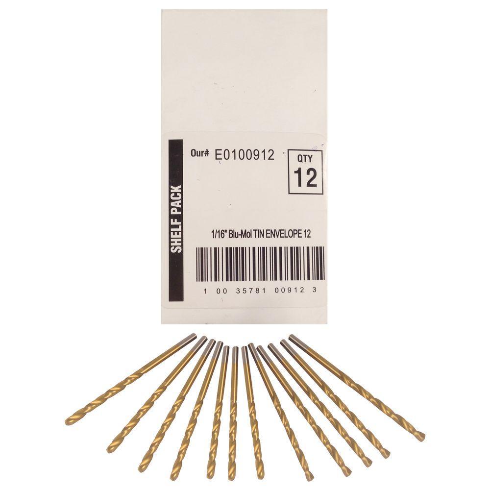 1/16 in. Diameter Titanium Jobber Drill Bit (12-Pack)