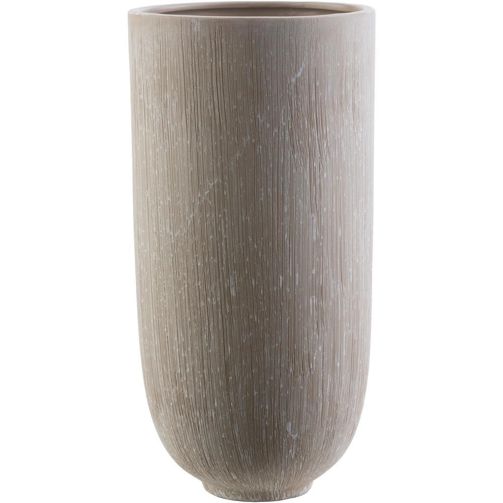 Notiko 13.58 in. Gray Ceramic Decorative Vase