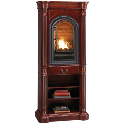 35 in. Ventless Liquid Propane Gas Tower Fireplace in Cherry