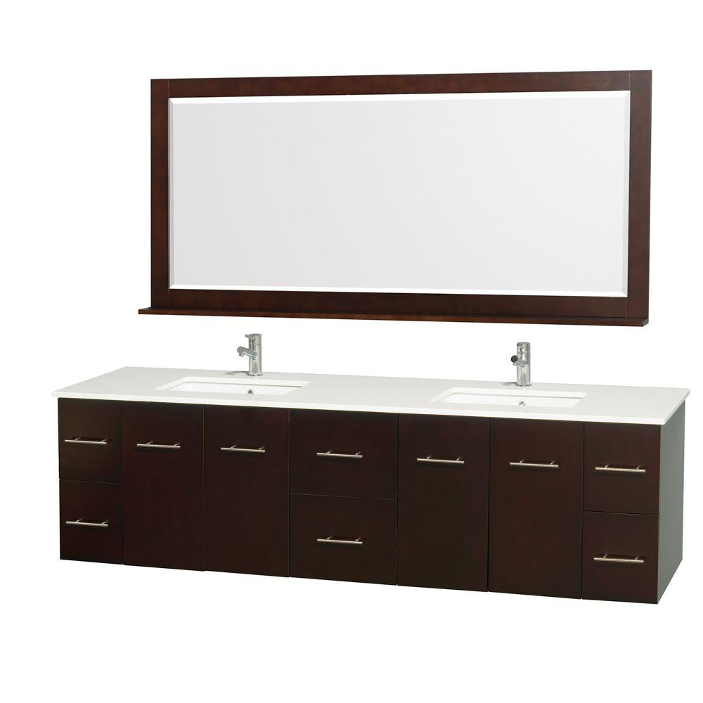 Centra 80 in. Double Vanity in Espresso with Man-Made Stone Vanity